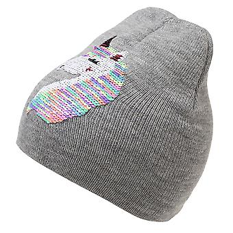 Childrens Girls Reversible Unicorn Sequins Beanie Hat