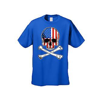 USA flag T shirt Skull med krydsede knogler mænd ' s kortærmet