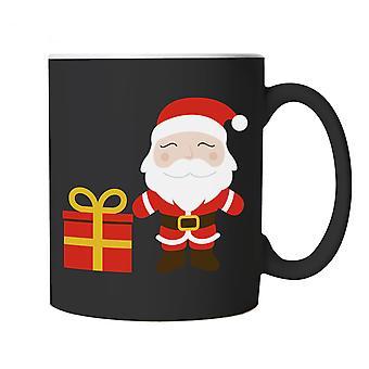 Cartoon Santa Claus Present Mug | Christmas Xmas HoHoHo Season Greetings Merry | Lights Decorations Santa Claus Reindeer Rudolf | Christmas Cup Gift