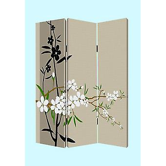 "1"" x 48"" x 72"" Multi Color Wood Canvas Plum Blossom  Screen"