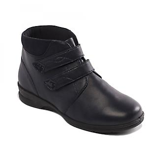Padders Kathy Ladies Leather Super Wide (4e/6e) Boots Navy