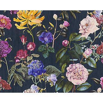 Floral Roses Non-Woven Vinyl Wallpaper Garden Vintage Retro Navy Textured