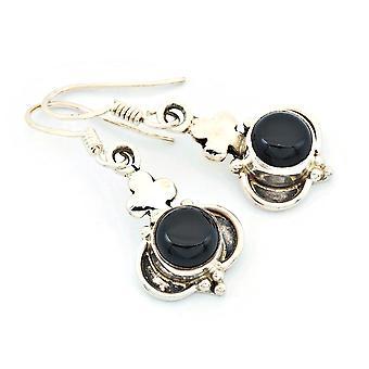 Onyx Ohrringe 925 Silber Sterlingsilber Ohrhänger schwarz (KLE-OH-194)