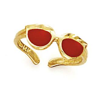 14k Yellow Gold Red Enamel Sunglasses Toe Ring Jewelry Gifts for Women - 1.3 Grams