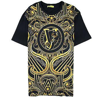 Versace Jeans Gold Printed VJ T-Shirt Black