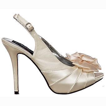 Onlineshoe Peep Toe Bridal Wedding Shoes - Slingback With Flower - Ivory Satin