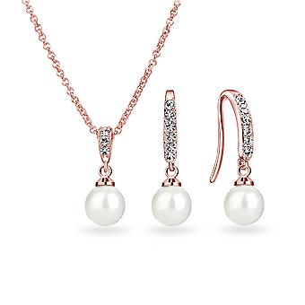 Rose gold pearl drop set created with swarovski® crystals