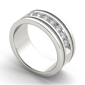 Igi gecertificeerd 14k witgoud 1.00 ct natuurlijke diamant mannen's trouwring