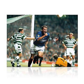 Ally McCoist Signed Rangers Photo: Goal Against Celtic