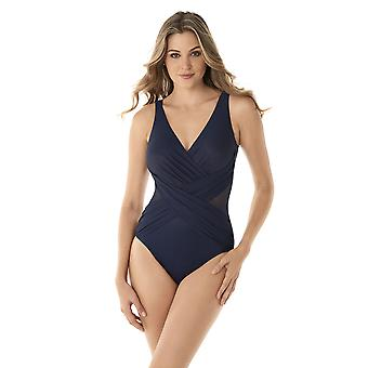 Miraclesuit 6519089W-MDN Women's Ilusionistas Crossover Midnight Blue Plus Size Shaping Swimsuit