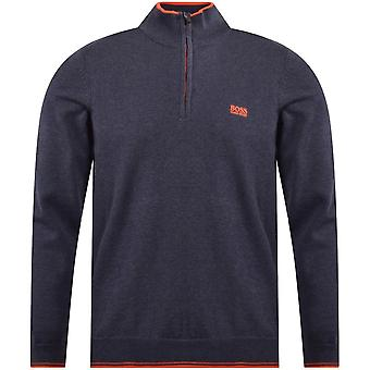 Hugo Boss Zimex W19 Cotton Regular Fit Quarter Zip Blue Jumper