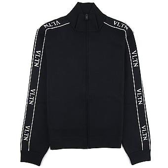 Valentino VLTN Viscose Zip Up Sweatshirt Black