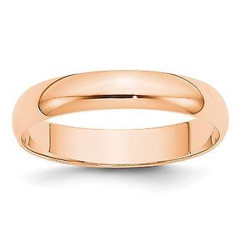 10k Rose Gold 4mm Ltw Meia Rodada Anel Joias Joias para Mulheres - Tamanho do anel: 4 a 14