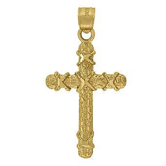 10k keltainen kulta miesten naisten nugget kuvioitu rajat uskonnollinen charmia riipus kaulakoru toimenpiteet 34.1x17.90mm Wid korut lahja
