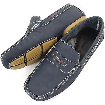 Mannen lederen Casual / formeel Slip op boot / Loafer Deck / Moccasin schoenen - Navy - UK, 10