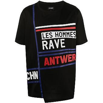 Les Hommes Lit261703p9000 Men's Black Cotton T-shirt