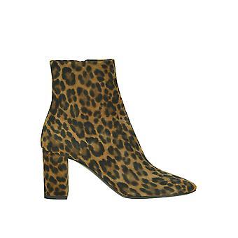Saint Laurent Ezgl025026 Women's Leopard Suede Ankle Boots
