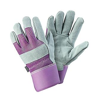 Womens/Ladies Small Rigger Gardening Gloves Durable Leather Purple Breathable Material