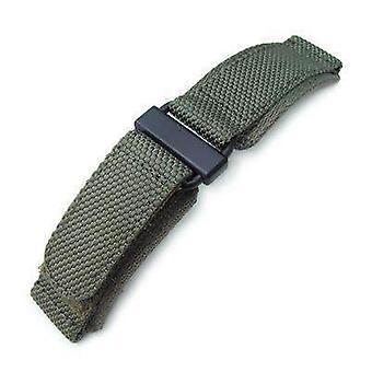 Strapcode velcro saat kayışı 22mm miltat petek askeri yeşil naylon velcro bağlantı kayışı, pvd siyah paslanmaz toka