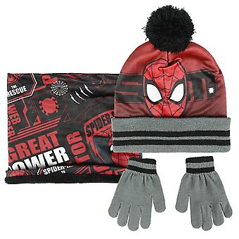 Spiderman kids hat scarf gloves set