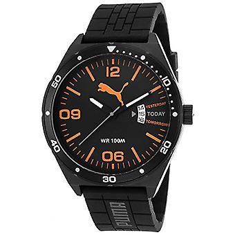 Cougar Time Day Essential wrist watch, analog, Silicon band, black/orange