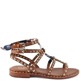 Ash PATCHOULI Sandals Brown Leather & Gold Studs