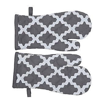 Penguin Home Patterned S/2 Gauntlets, Cotton, 2pc Set