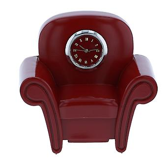 Miniature Armchair Sofa Clock, Burgundy Red Couch Novelty Desktop Collectors Clock TM19