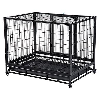 """PawHut 38"""" Heavy Duty Metal Dog Kennel Pet Cage with Crate Tray and Wheels - Black (Medium)"""