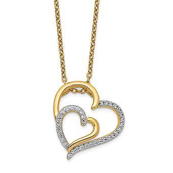 17mm Cheryl M 925 Sterling Silver 14k Ouro Banhado CZ Cubic Zirconia Simulado Diamante Amor Colar coração 18 polegadas Jóias