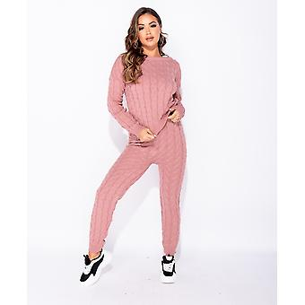 Cable Knit Long Sleeve Top & Leggings Lounge Set - - Pink