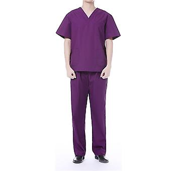 Allthemen Men's V-Neck Cotton Short-Sleeves Medical Gowns Hospital Gowns