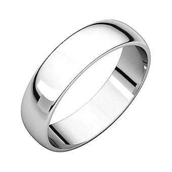 14k White Gold 5mm Light Half Round Band Ring Jewelry Gifts for Women - Ring Size: 5 to 13