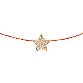 Choker Star 18K Gold and Diamonds, on Thread - Rose Gold, NeonOrange