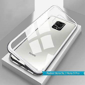 Für Xiaomi Redmi Note 9S / 9 Pro Magnet / Metall / Glas Case Bumper Transparent / Silber Tasche Hülle Neu
