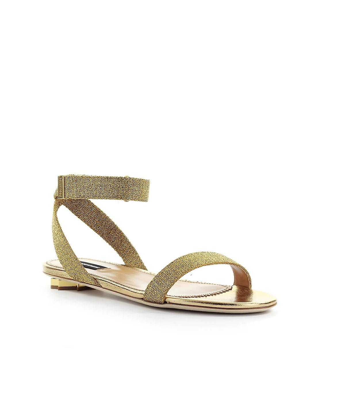 Dsquared2 Gold Nappa Leather Sandal
