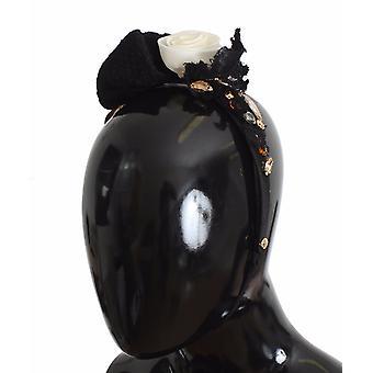 Dolce & Gabbana Diadem Headband Tiara White Rose Crystal Hair Gold SIG19569