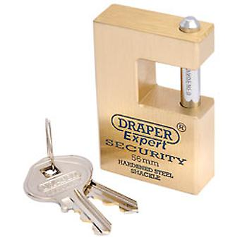 Draper 64200 Expert 56mm Quality Close Shackle Solid Brass Padlock & 2 Keys