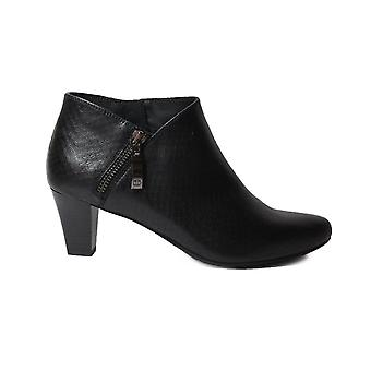 Gerry Weber Lena 07 Black Leather Womens Wide Fit Heeled Enkel Boots
