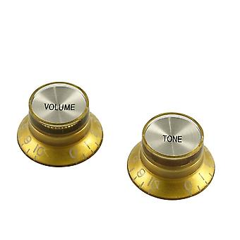 WD Music Bell Knob Set (1 X Volume 1 X Tone) Gold With Silver Inserts, Usa Fit And Cts Pots