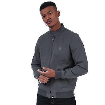 Men's Pretty Green Newton Harrington Jacket in Grey