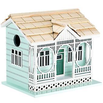 Outdoor Wooden Birdhouse, Bird-Friendly Perch (Savannah Cottage)