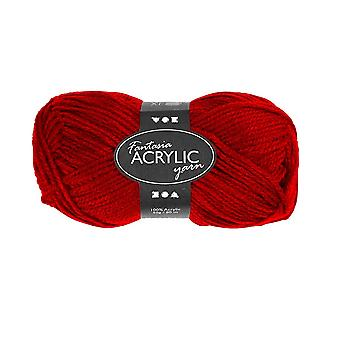 50g 3-Ply Deep Red Acrylic Yarn for Kids Knitting and Sewing Crafts