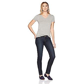 Lark & Ro Women's Short Sleeve Soft V-Neck T-Shirt, Light Heather, Large