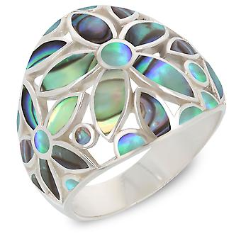 ADEN 925 Sterling Silver Abalone Mother-of-pearl Flower Ring (id 4090)