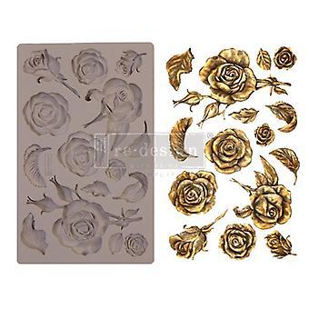 Re-diseño con rosas fragantes prima 5x8 pulgadas molde