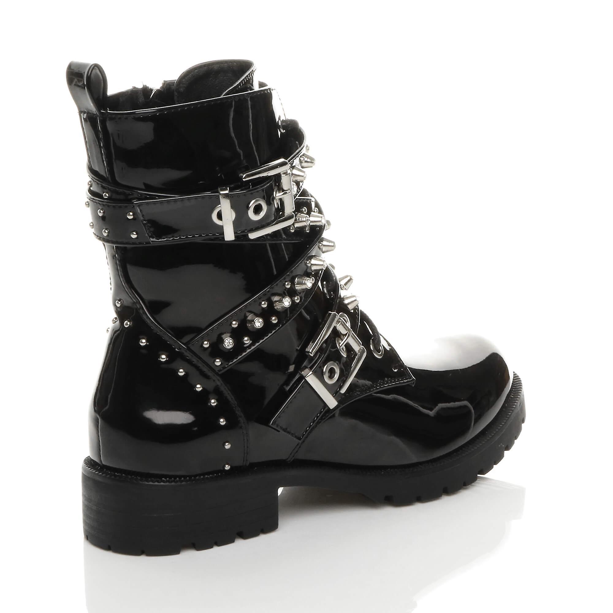 Ajvani womens mid block heel zip studded goth combat biker ankle boots