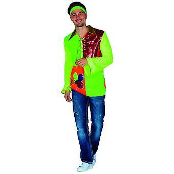 Hippie neon mens flower power kostuum carnaval hippie kostuum hippie shirt