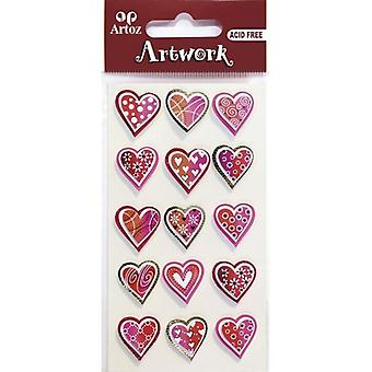 Red Patterned Hearts Craft Embellishment By Artoz