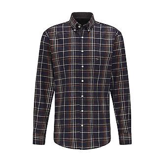 Fynch-Hatton Fynch-hatton Long Sleeved Button Down Collar Shirt Arabica Check